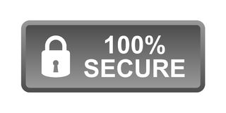 100% secure button. Simple vector illustration of Safe secure padlock grey black web button on white background vector illustration