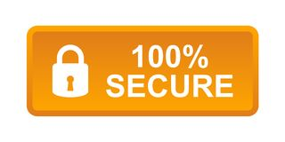 100% secure button. Simple vector illustration of Safe secure padlock orange web button on white background stock illustration