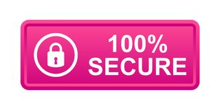100% secure button. Simple vector illustration of Safe secure padlock pink web button on white background royalty free illustration