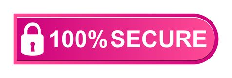 100% secure button. Simple vector illustration of Safe secure padlock pink web button on white background vector illustration