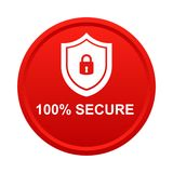 100% secure button. Simple vector illustration of Safe secure padlock red web round button on white background vector illustration