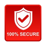 100% secure button. Simple vector illustration of Safe secure padlock red web square button on white background stock illustration