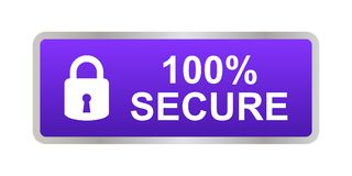 100% secure button. Simple vector illustration of Safe secure padlock violet web button on white background royalty free illustration