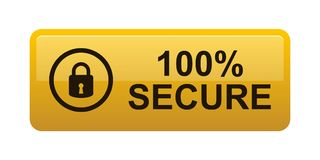 100% secure button. Simple vector illustration of Safe secure padlock gold yellow web button on white background royalty free illustration