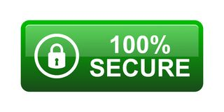 100% secure button. Simple vector illustration of Safe secure padlock green web button on white background vector illustration