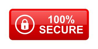 100% secure button. Simple vector illustration of Safe secure padlock red web button on white background vector illustration