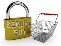 Secure buy concept with padlock and shopping basket Royalty Free Stock Images