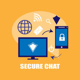 Secure chat illustration Royalty Free Stock Photography