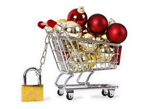 Secure Christmas shopping isolated concept Stock Images