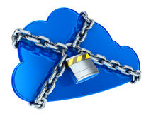 Secure cloud computing. Cloud icon with chain and padlock Stock Images