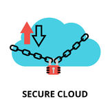 Secure cloud icon, for graphic and web design. Modern flat design vector illustration, secure cloud icon, for graphic and web design Royalty Free Stock Photos