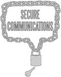 Secure Communications chain lock frame. Secure Communications chain lock  line drawing form copyspace speech bubble border Stock Image