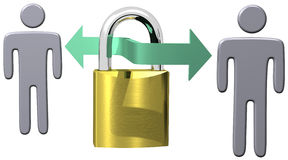 Secure communications data security lock people. Secure communications data link protects computer people through a safe lock connection Stock Image
