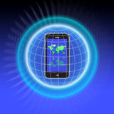 Secure Computer Network iphone. An image for the concept of Secure Computer Network. This image shows a super mobile phone like  the Apple iphone with a sphere Royalty Free Stock Images