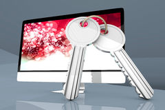 Secure Computer with a pair of Keys Stock Photo