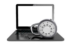 Secure Concept. Laptop computer with Pad Lock Stock Photo