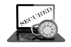 Secure Concept. Laptop computer with Pad Lock Royalty Free Stock Photos