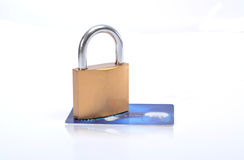 Secure Credit Card with lock Isolated on white Royalty Free Stock Images