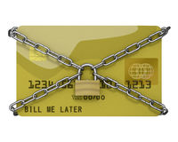 Credit card with padlock and chains Royalty Free Stock Images