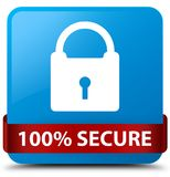 100% secure cyan blue square button red ribbon in middle. 100% secure isolated on cyan blue square button with red ribbon in middle abstract illustration Royalty Free Stock Image