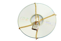 Secure data cd. With a lock isolated stock photography