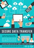 Secure data transfer data technology vector poster. Secure data transfer and internet cloud network share technology vector poster. Cloud sharing system or files Royalty Free Stock Photography