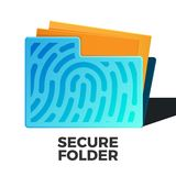 Secure data vector. Secure folder vector icon. Flat style illustration of folder with fingerprint and some docs inside. Security and privacy concept. Isolated on Royalty Free Stock Photos