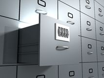 Secure Database office cabinet Stock Photos