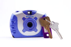 Secure digital camera and keys Royalty Free Stock Images