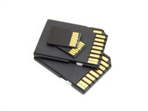 Secure Digital memory cards. On white background Stock Photo