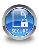 Secure (document page padlock icon) glossy blue round button Stock Image