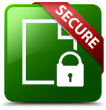 Secure document page padlock icon green square button Stock Image