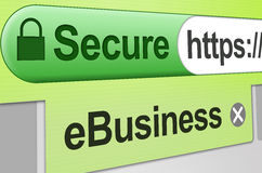 Secure eBusiness - Green. Secure web site connection for eCommerce, an online store or a business transaction. Browser address bar showing green secure SSL stock photo