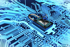 Secure electronic circuit 3D rendering Royalty Free Stock Photo