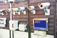 Secure electronic and security cameras on exhibition. Secure electronic equipment and security cameras on exhibition royalty free stock photo