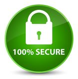 100% secure elegant green round button. 100% secure isolated on elegant green round button abstract illustration Royalty Free Stock Images