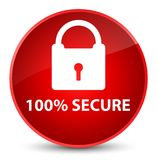 100% secure elegant red round button. 100% secure on elegant red round button abstract illustration stock illustration