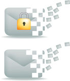 Secure email and communication. Secure email communication icon, showing moving information Stock Photo