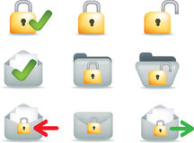 Secure email and communication. Secure business, internet and email communication set of icons Stock Image