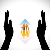 Graphic of Secure family people icons,hand silhoue. Secure family people icons & hand silhouette protection. The concept illustration contains symbols of home( Stock Photo