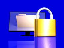 Secure File. 3d rendered Illustration. Locked File Royalty Free Stock Photography