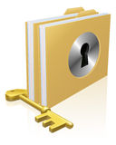 Secure file folder. Folder or file with a keyhole locked with a key. Concept for privacy or data protection, or secure data storage etc Royalty Free Stock Photography