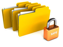 Secure file and folders. Concept of data sharing, security of files and folders with folders on white space along with lock labeled safe Royalty Free Stock Images