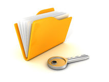 Secure files concept. Document Folder with Key. Business security concept 3d render illustration Royalty Free Stock Photos