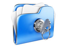 Secure files. Folder with Key. Secure files. Folder with Key in cloud shape handle Royalty Free Stock Image