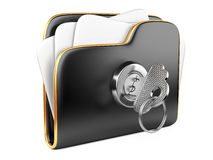 Secure files. Folder with Key. Royalty Free Stock Photos