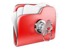 Secure files. Folder with Key. Stock Photo