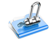 Secure files. Folder with Key. Stock Photos