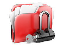 Secure files. Folder with Key. Secure files. Folder with Key in cloud shape handle Stock Photo