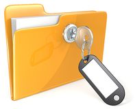 Secure files. Folder with Key, Keyring and Label. Copy Space Stock Photos